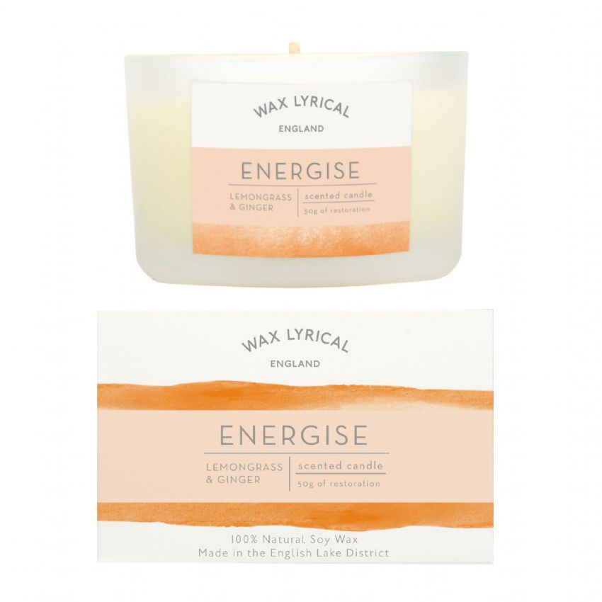 Energise Lemongrass & Ginger 100% Natural Soy Wax Candle Glass Equilibrium Wax Lyrical 50g